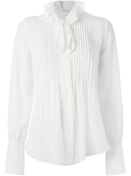 Blusa com pregas de seda Chloe