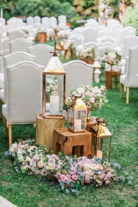 Lantern Wedding Ceremony Decor Idea Tree Stumps And Lantern Ceremony Markers Wedding Ceremony Decorations Lantern Wedding Ceremony Backyard Wedding Ceremony