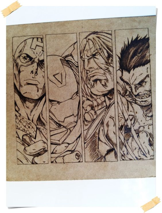 Marvel Heroes pyrography photo for wall,MDF house decor. by WoodBurningStudio on Etsy