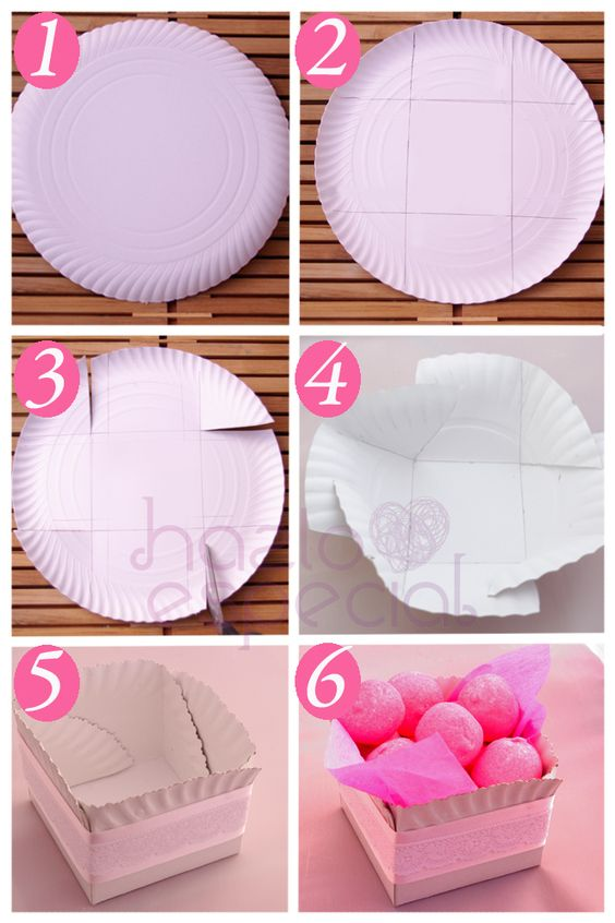 Cajita a partir de plato de cartón http://hazloespecial.es/idea-para-decorar-tu-mesa-de-cumple-recipientes-con-platos-de-carton/:
