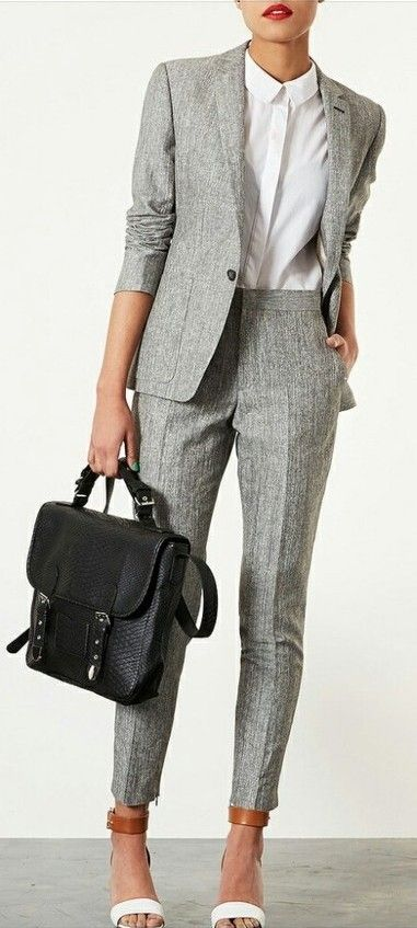 blazer with matching cigarette pants... CHIC AS FUCK.  I want to be this girl. Yes yes yes.: