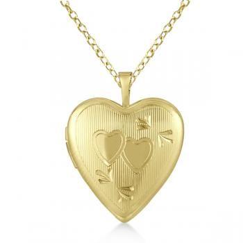 Heart Shaped Pendant Locket Necklace w/ Two Hearts Gold Vermeil - Allurez.com