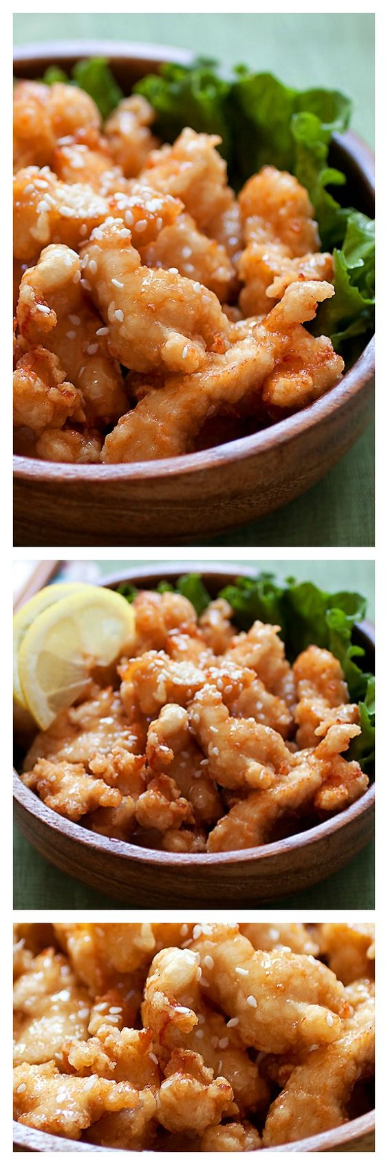 Best ever honey sesame chicken. Easy honey sesame chicken recipe with fried chicken pieces in a sticky sweet and savory honey sesame sauce | http://rasamalaysia.com
