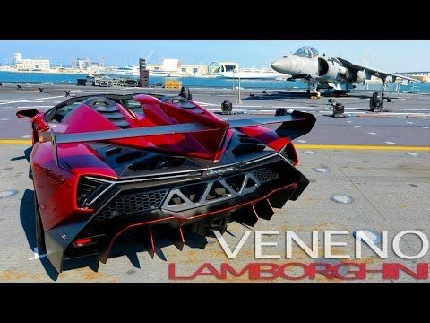 Lamborghini Veneno Roadster On Board the Naval Aircraft Carrier Nave Cavour - YouTube