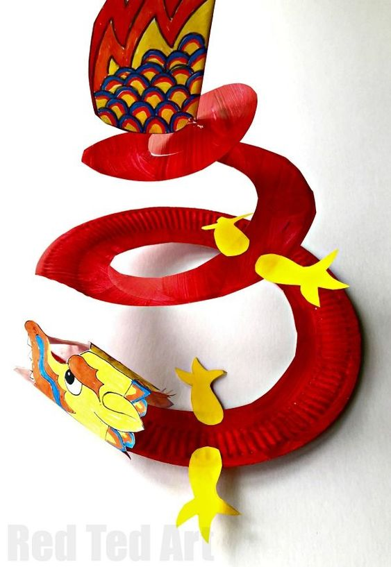 Fun with Paper Plates for Chinese New Year. Make this fantastic Paper Plate Dragon Twirler! Easy and fun. We love Dragon Crafts and Whirligigs for Preschool