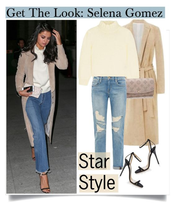 """""""Get The Look: Selena Gomez"""" by dora04 ❤ liked on Polyvore featuring Wes Gordon, Louis Vuitton, Frame Denim, Jimmy Choo, GetTheLook, selenagomez, CelebrityLook, CelebrityStyle and starstyle"""