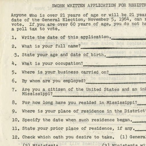 Page  Of Voter Registration Application Used In Mississippi