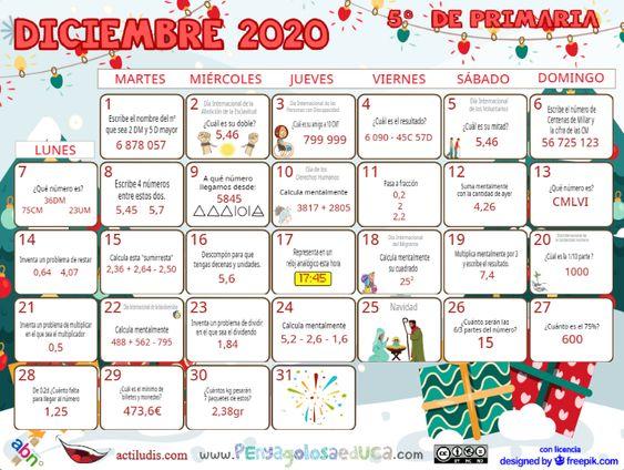 Calendario Quinto ABN – Diciembre 2020