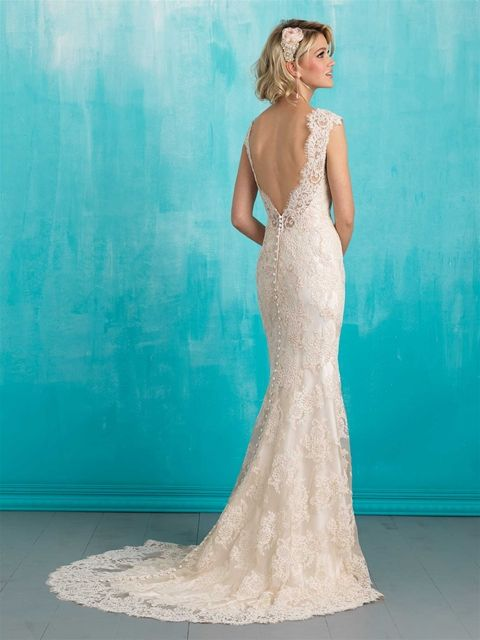 Allure | Style: 9313  Inspired by vintage lace, this slip gown is both delicate and timeless.  Color:Ivory, Ivory/Champagne Fabric:Lace and Satin Size:2 - 32