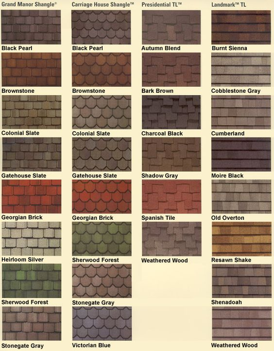 Colors asphalt roof shingles and color names on pinterest for Names of roofing materials