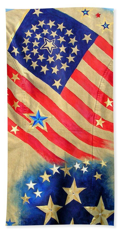Patriotic Jacket American Flag With 31 Stars Beach Towel For Sale By Sofia Metal Queen Flag Art Flag American Flag
