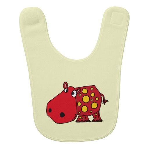 Funny Red Hippo Baby Bib #hippos #red #funny #baby #bibs And www.zazzle.com/naturesmiles*