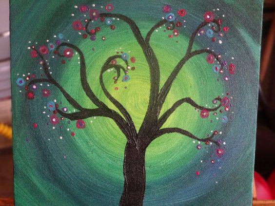 Whimsical tree acrylic painting on canvas 10x10 by MosaicsandArt, $38.00