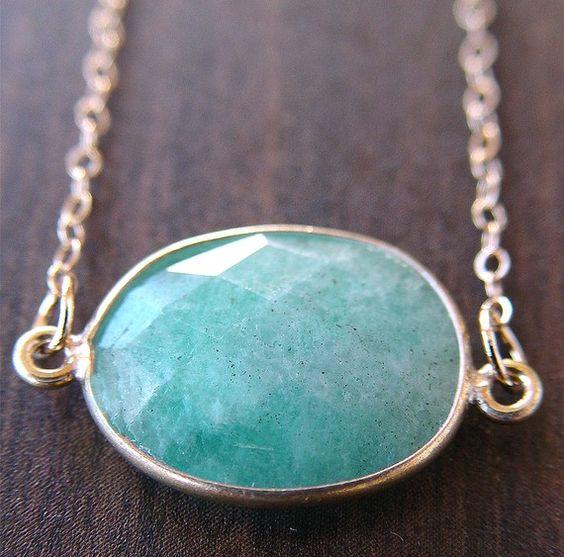 Blue Amazonite 24k gold pendant necklace