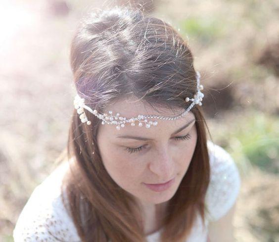 Pearl crystal headband Wedding rhinestone forehead by Elibre, $64.00