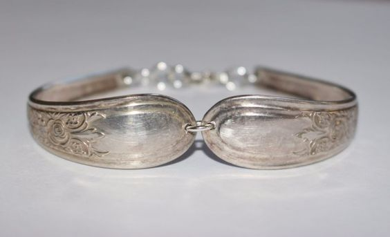 Rosa Preciosa Pulsera De Cuchara De Plata Vintage Antiguos Plateado Sterling