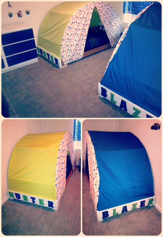 Tent beds we made for the boys memoo squishy for Canopy for boys bed