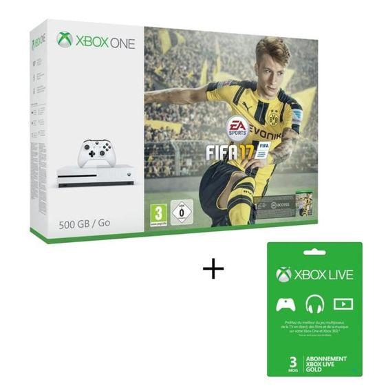 Sympa ce pack =D Xbox One S + FIFA 17 + Abonnement de 3 mois au Xbox Live pour 299€ !! 🔥 #bonplan