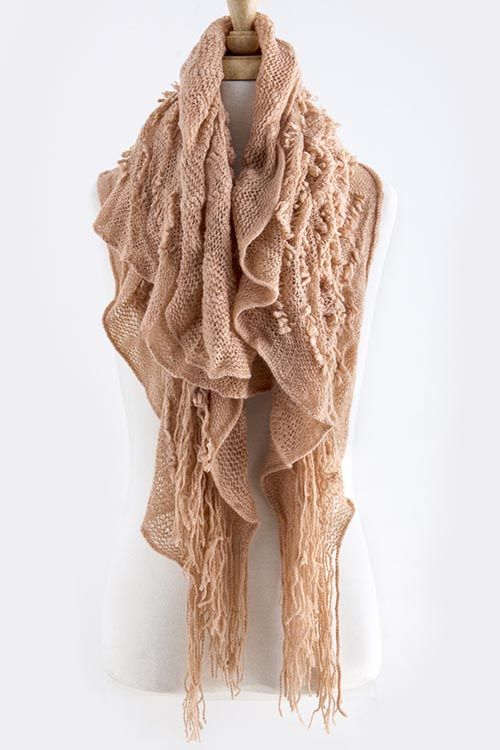 ZIGZAG KNOTTED KNIT LONG FRINGED SCARF -Peach