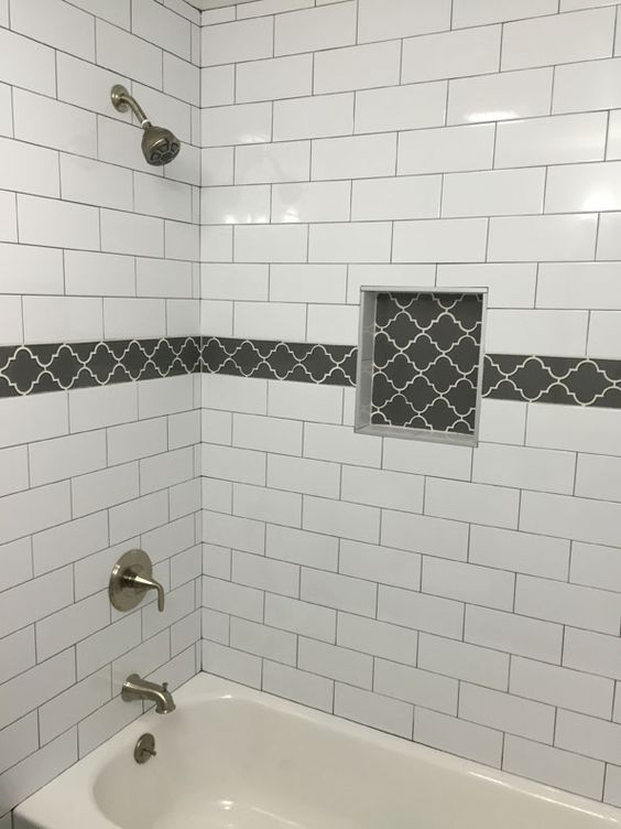 Large white subway tile with dark gray grout and gray for Master bathroom grey tile