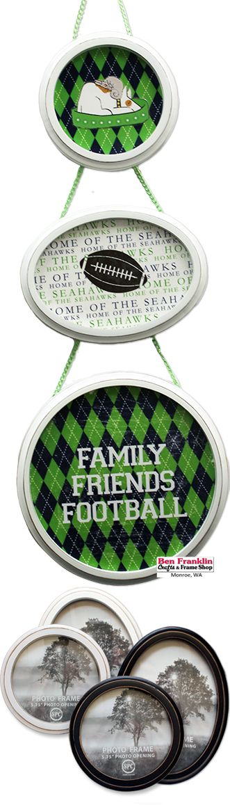 Photo Frames are not just for Photos! Projects on our blog: https://benfranklincraftsmonroe.blogspot.com/2016/09/photo-frames-are-not-just-for-photos.html  #Seahawks #DIY #Cre8 #crafty #walldecoration