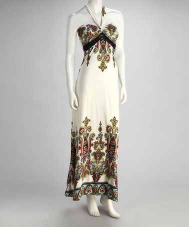 Take a look at this White Paisley Halter Maxi Dress by Fantazia on #zulily today! $17.99, regular 55.00