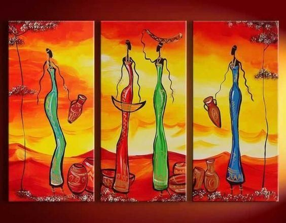 Abstract Painting African Girl Acrylic Painting Dining Room Wall Art 3 Piece Art Painting African Paintings Canvas Paintings For Sale Hand Painting Art