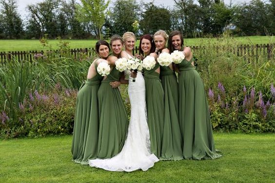 twobirds Bridesmaid multiway, convertible wrap dresses in olive green