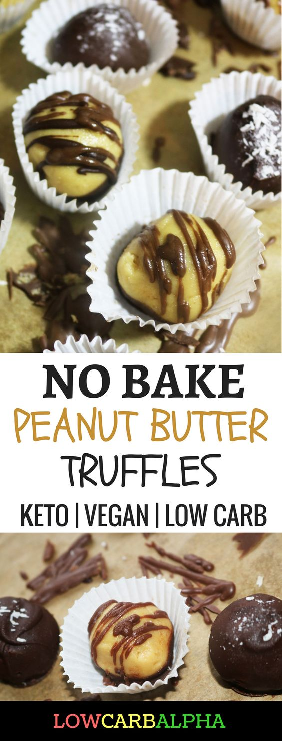 No-Bake Peanut Butter Truffles Keto Recipe https://lowcarbalpha.com/keto-peanut-butter-truffles/ Low carb and vegan friendly smooth, creamy, filled with peanut butter chocolatey goodness #lowcarb #keto #healthyliving #lowcarbalpha #peanutbutter #vegan