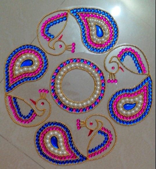 Kundan rangoli made by me for Agal vilakku decoration