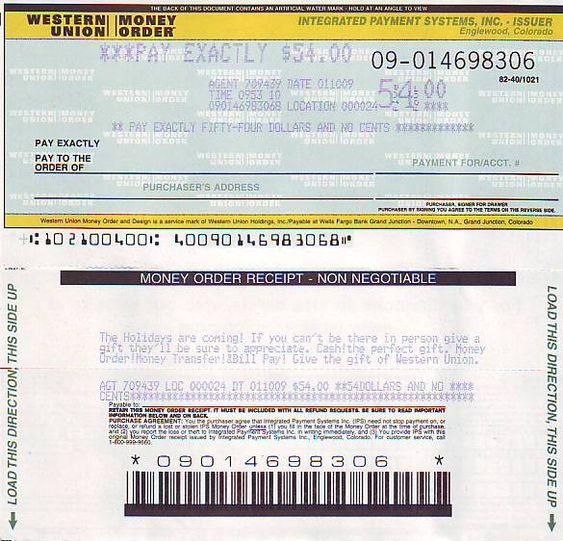 picture western union money order   blank money order ...