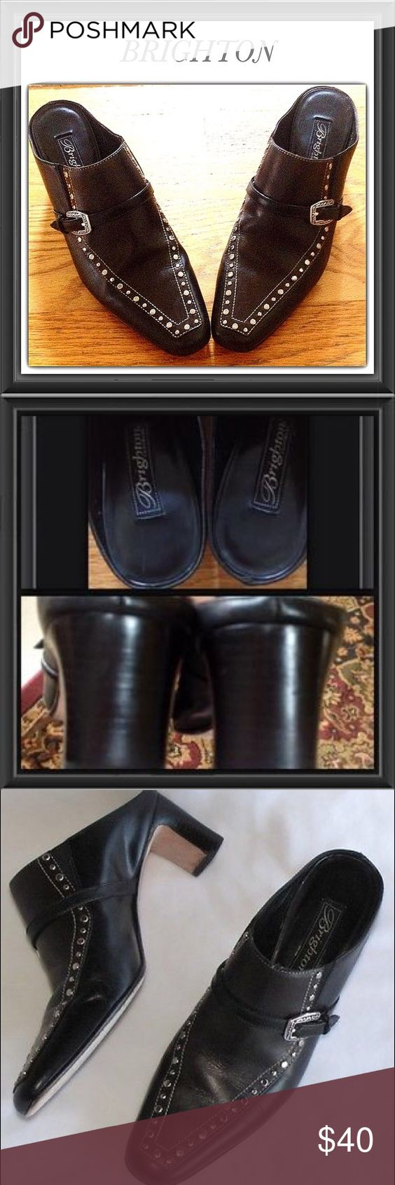 Brighton Studded Leather Tempe Mules Clogs 7M Brighton Studded Leather Tempe Mules Clogs 7m (also Fits M Width) Black and brown Brighton Shoes Mules & Clogs
