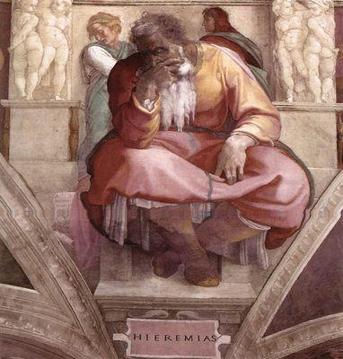 Michel-Ange - Renaissance - Painting - Le prophète Jérémiah