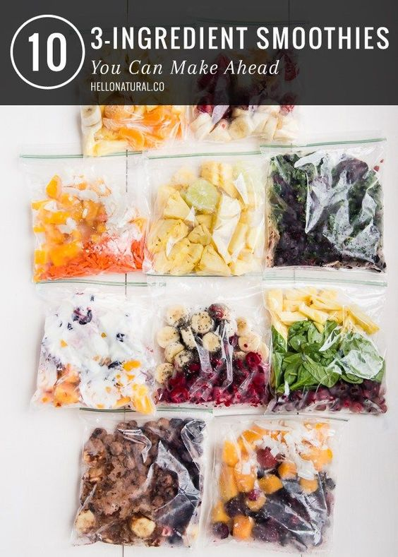 Getting ready for the week? If you hate meal planning, why not try make-ahead smoothies? Click for 10 smoothie recipes you can make ahead of time for a healthy meal on the go - and they each have just 3 ingredients!