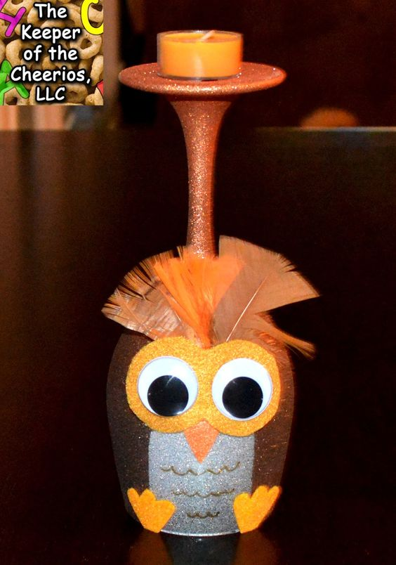 Thanksgiving Owl Wine Glasses (Candle Holders) made with dollar store wine glasses and glitter blast spray paint