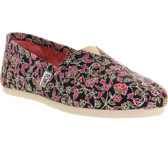 Toms Seasonal Classic Slip On (40 CAD) ❤ liked on Polyvore featuring women's fashion, shoes, flats, toms, black floral, women, floral espadrilles, flat shoes, slip on flats and espadrille flats