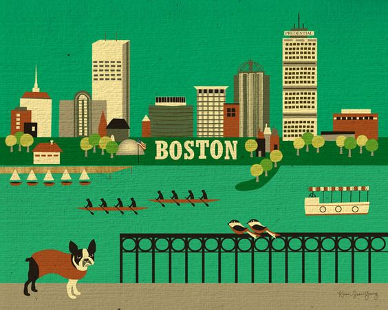 Boston Terrier and Boston Horizontal Skyline Poster by loosepetals