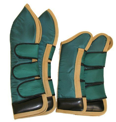 """Full Length Set of Four Horse Shipping Boots Hunter Green by AJ. $55.00. Front boots: 21"""". Hind boots: 29"""". Color: Hunter Green/Gold trim. Set of four full length shipping boots. Made with 420 denier durable water resistant nylon, foam padding and black fleece lining. 4"""" vinyl hoof protector to safeguard the horse legs and for extra water and stain resistant. Three Jumbo Velcro closures per boot."""