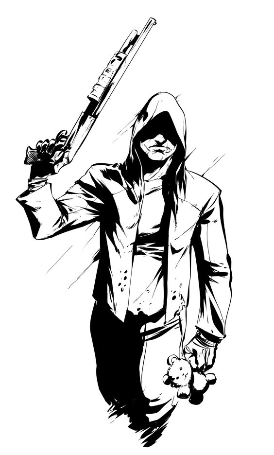 The Knock Knock Man is a hooded figure carrying a shotgun.