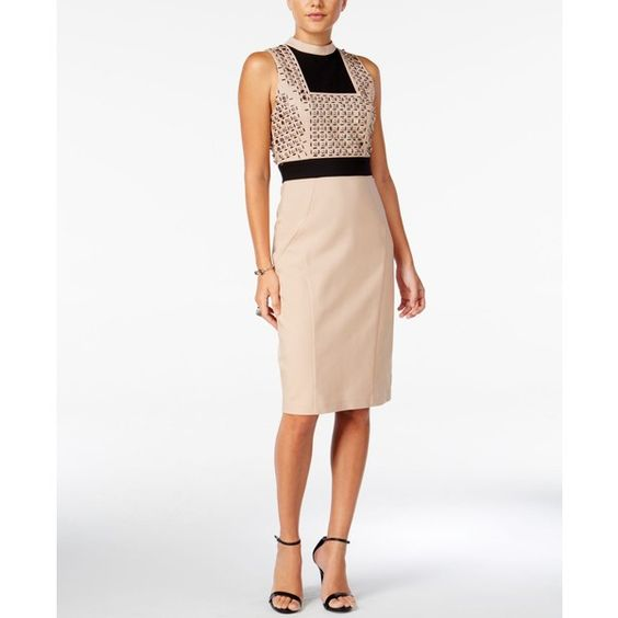 Guess Evon Embellished Colorblocked Dress ($138) ❤ liked on Polyvore featuring dresses, rugby tan, guess dresses, alaina print-blocked sheath dress, embellished dress, colorblock sheath dress and embelished dress