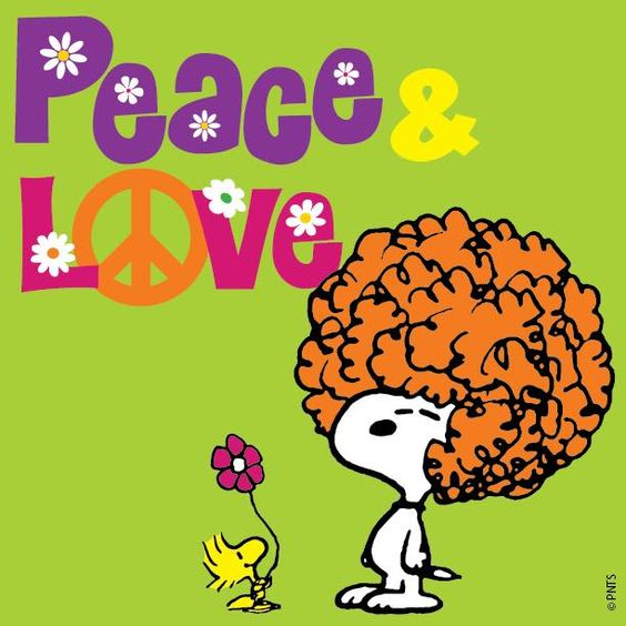 Peace and Love - Snoopy With An Afro and Woodstock Holding Flower: