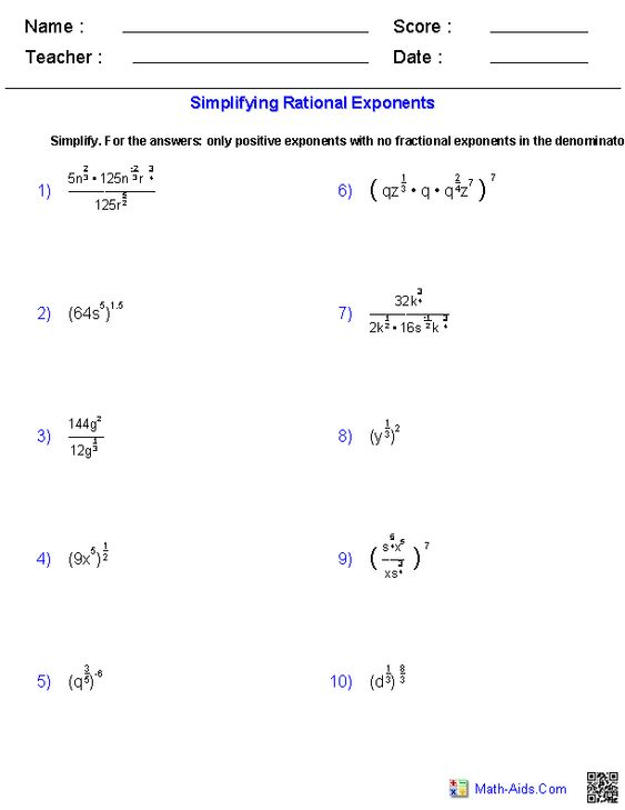 Printables Rational Exponents Worksheet worksheets on pinterest simplifying rational exponents worksheets