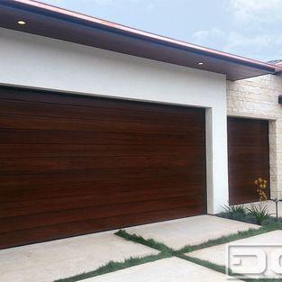 A Modern Garage Door Design in Irvine Terrace, Custom Crafted in Solid Mahogany!