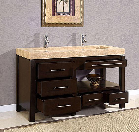 Pinterest the world s catalog of ideas - Bathroom trough sink double faucet ...
