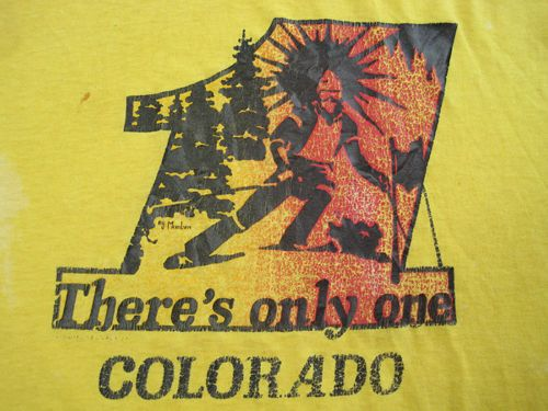 Vintage COLORADO skiing T SHIRT SKI-yellow 80's