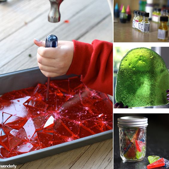 Kids become mini scientists in the kitchen, mixing up a mystical potion of sugar, color, and flavor! Hard tack candy starts out as a liquid and then becomes a solid. Kids get to crack, break, and demolish it with a hammer and screwdriver!