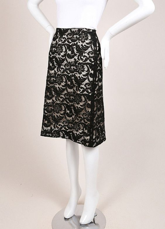 Black and Beige Floral Lace Pencil Skirt