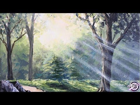 Sun Ray Forest Painting Art Candy Youtube Forest Painting Landscape Paintings Acrylic Painting