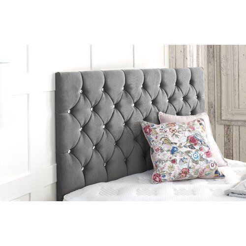 Crushed Upholstered Headboard Willa Arlo Interiors Size Small Single 2 6 Upholstery Grey Upholstery Furniture Home Decor