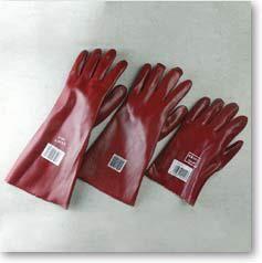 Luvas de PVC vermelho. Punho aberto. Tamanho único - Comprimento: 27 e 35 cm.